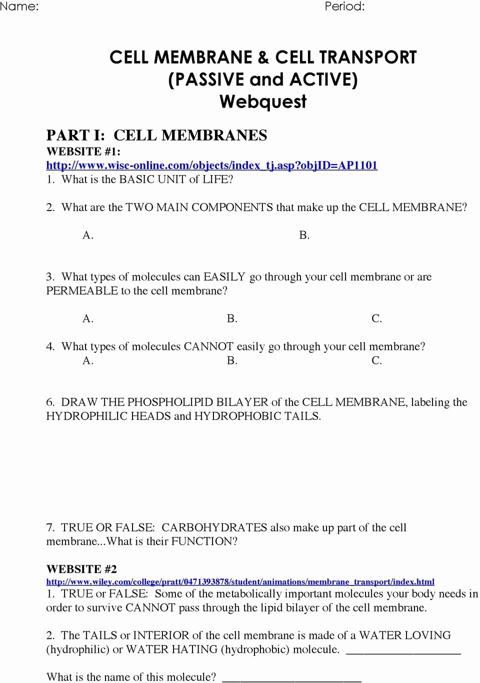 Cell Transport Worksheet Biology Answers Best Of Cell Transport Worksheet Answers Promotiontablecovers