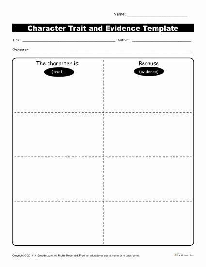 Character Analysis Worksheet High School New Character Traits Workshsheets