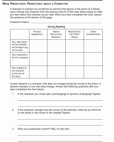 Character Education Worksheets Middle School Free Pace High School Character Prediction Chart
