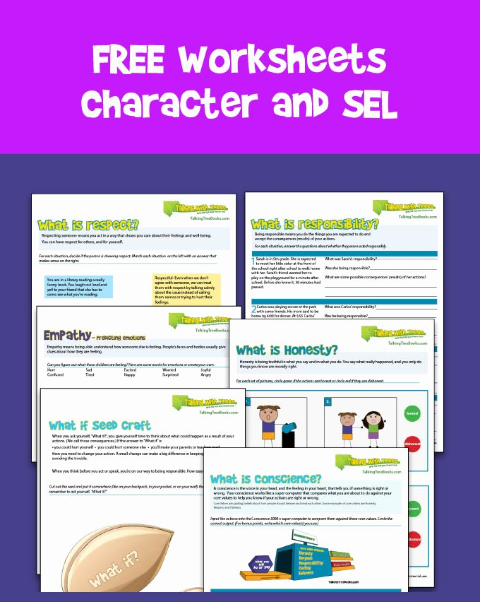 Character Education Worksheets Middle School Kids Character Education Worksheets Talking with Trees Books