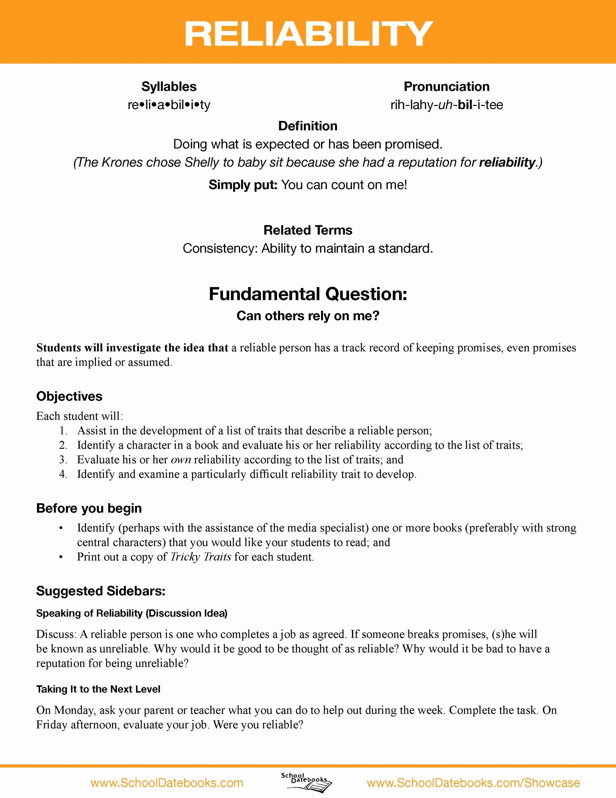 Character Education Worksheets Middle School Printable Reliability Character Lesson Plan Free Able 52