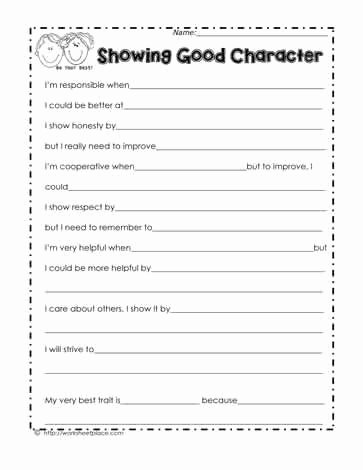 Character Education Worksheets Middle School top My Character Traits
