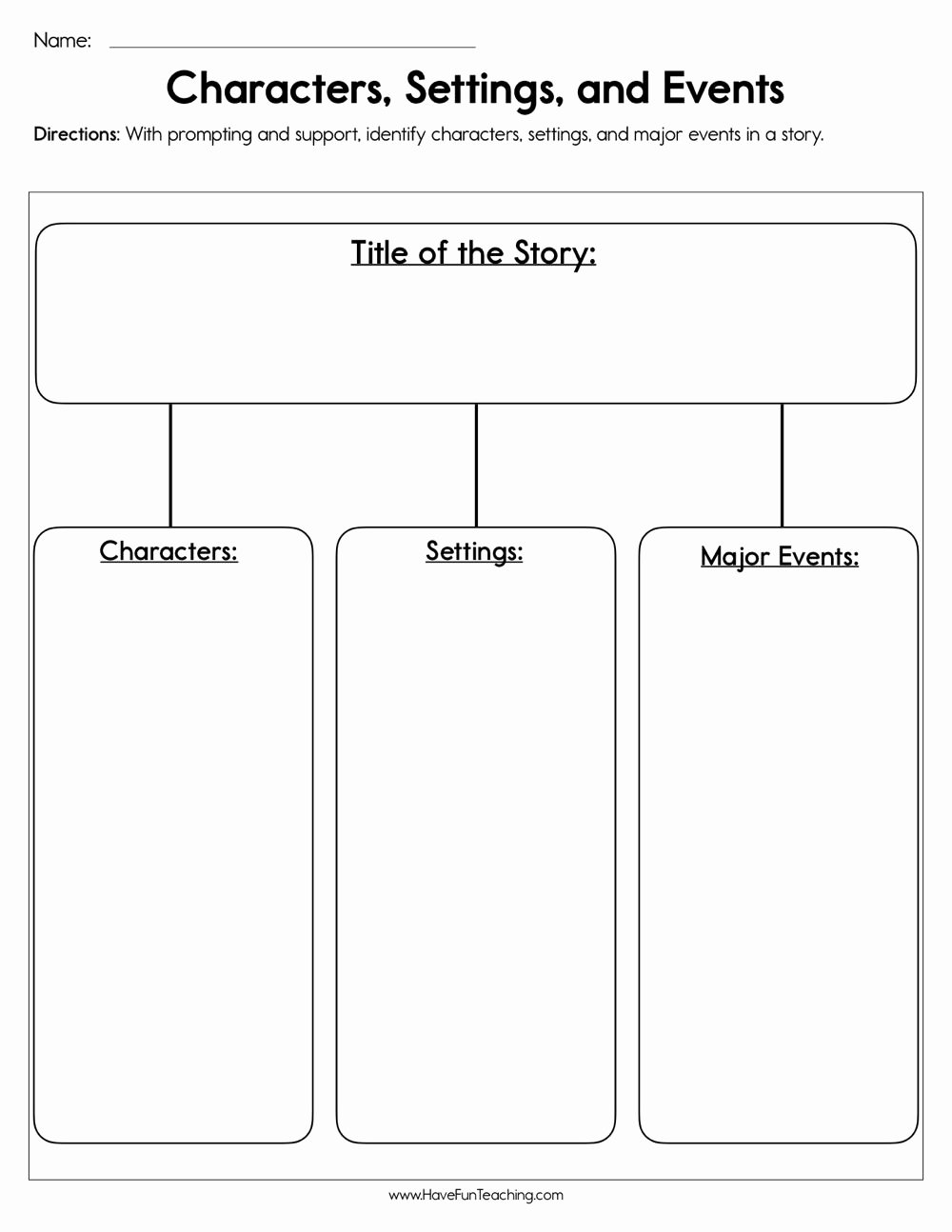 Character Setting and Plot Worksheets Fresh Characters Settings and events Worksheet