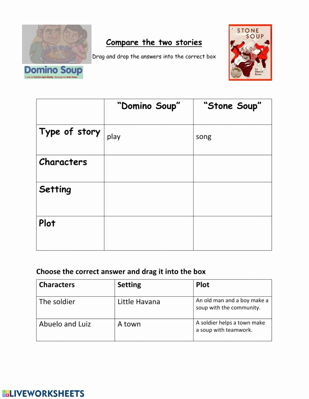 Character Setting and Plot Worksheets Inspirational Pare Stone soup and Domino soup Interactive Worksheet