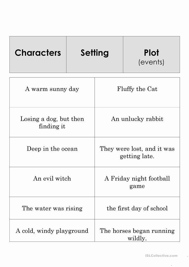 Character Setting and Plot Worksheets New Story Element Set English Esl Worksheets for Distance
