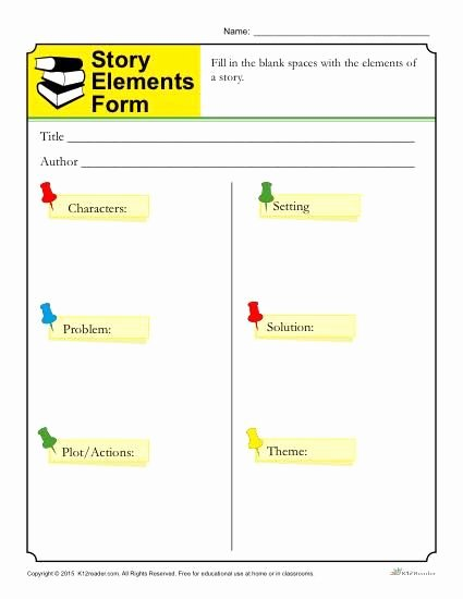 Character Setting and Plot Worksheets New Story Elements form Template for Students