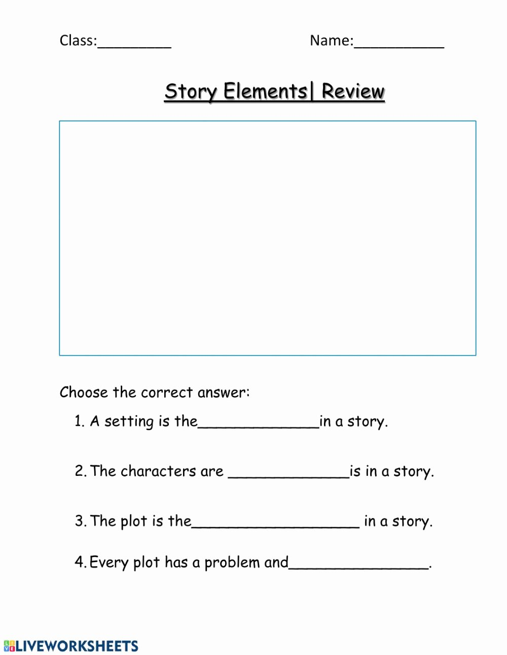 Character Setting and Plot Worksheets New Story Elements Review Interactive Worksheet