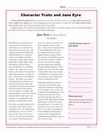 Character Traits Worksheet 3rd Grade Best Of Character Traits Worksheets