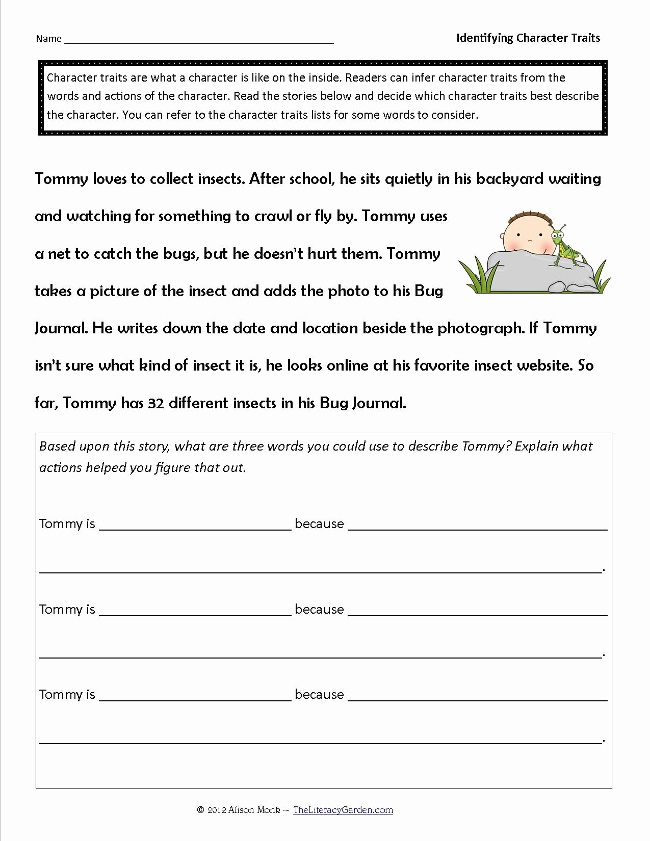 Character Traits Worksheet 3rd Grade Lovely Identifying Character Traits In Literature
