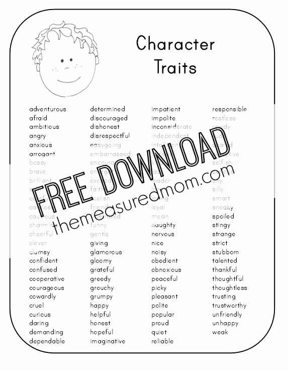 Character Traits Worksheet 4th Grade Free Character Analysis Worksheet the Measured Mom