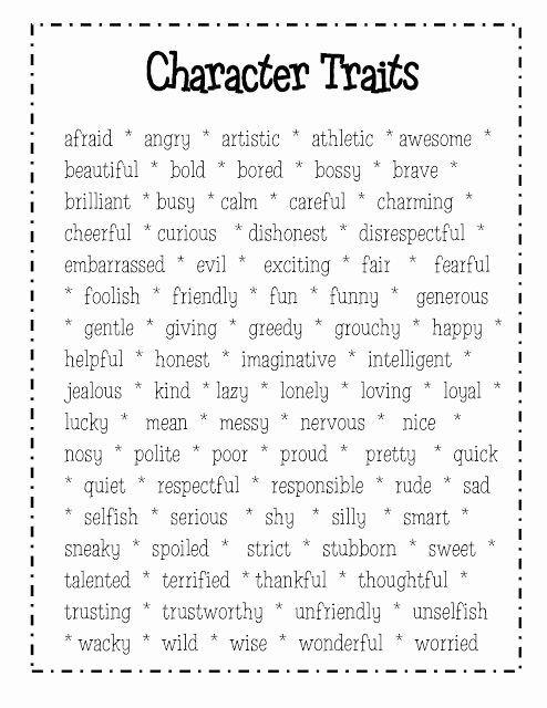 Character Traits Worksheet 4th Grade Kids Character Traits 4th Grade Lessons Tes Teach