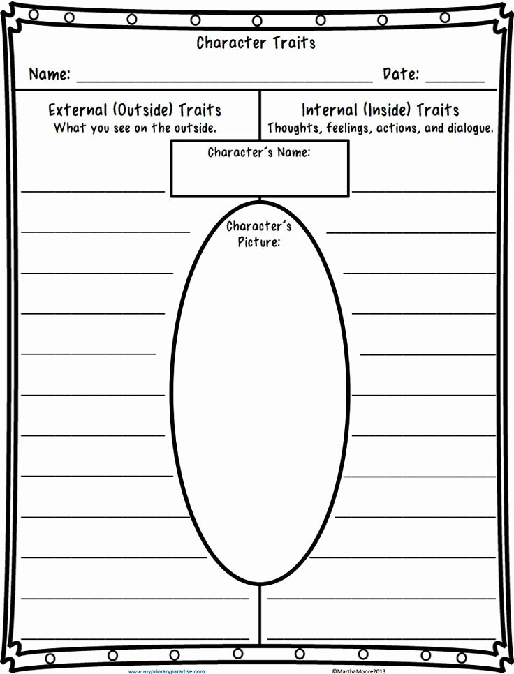 Character Traits Worksheet 4th Grade Lovely Character Traits Worksheet Pdf