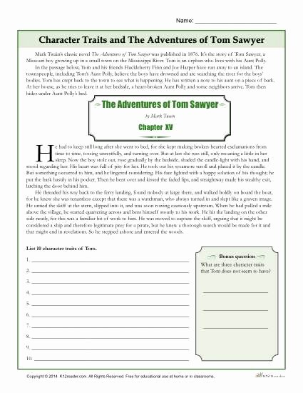 Character Traits Worksheet 4th Grade New Character Traits Worksheets