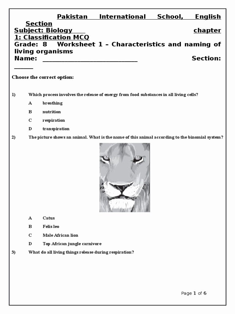 Characteristics Of Living Things Worksheet Best Of Characteristics Of Living organisms Worksheet 1 Of Chapter 1