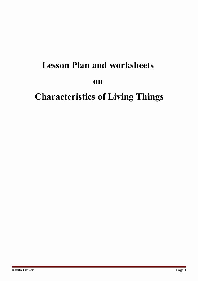 Characteristics Of Living Things Worksheet Lovely Lesson Plan and Worksheets On Characteristics Of Living Lhings