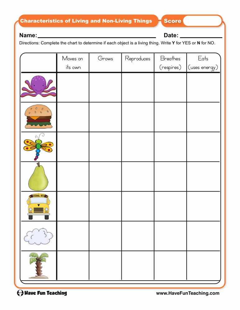 Characteristics Of Living Things Worksheet top Characteristics Of Living and Non Living Things Worksheet
