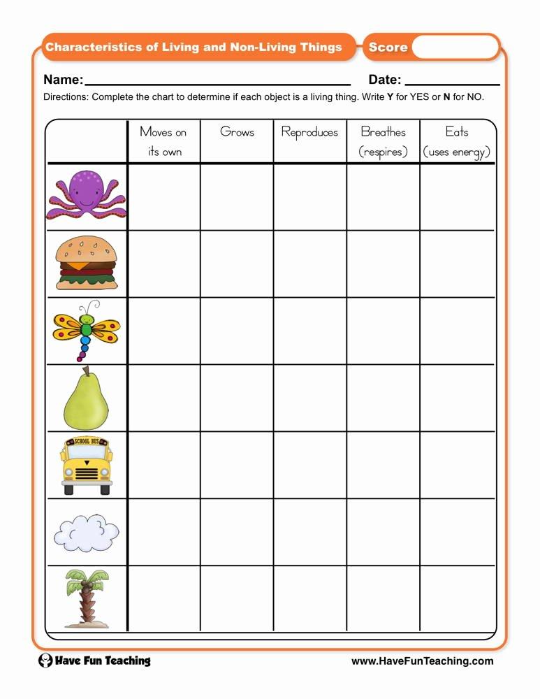 Characteristics Of Living Things Worksheet top Characteristics Of Living and Non Living Things Worksheet
