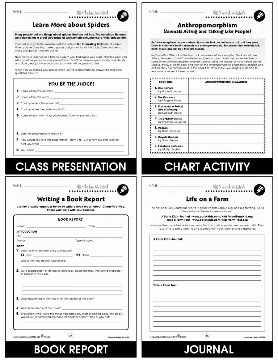 Charlotte Web Character Traits Worksheets Ideas Charlotte S Web Bonus Worksheets Grades 3 to 4 Ebook