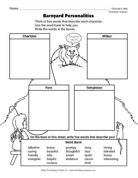 Charlotte Web Character Traits Worksheets Ideas Pin On Reading