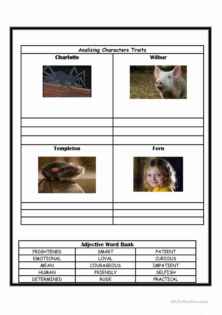 Charlotte Web Character Traits Worksheets Lovely Charlotte S Web English Esl Worksheets for Distance