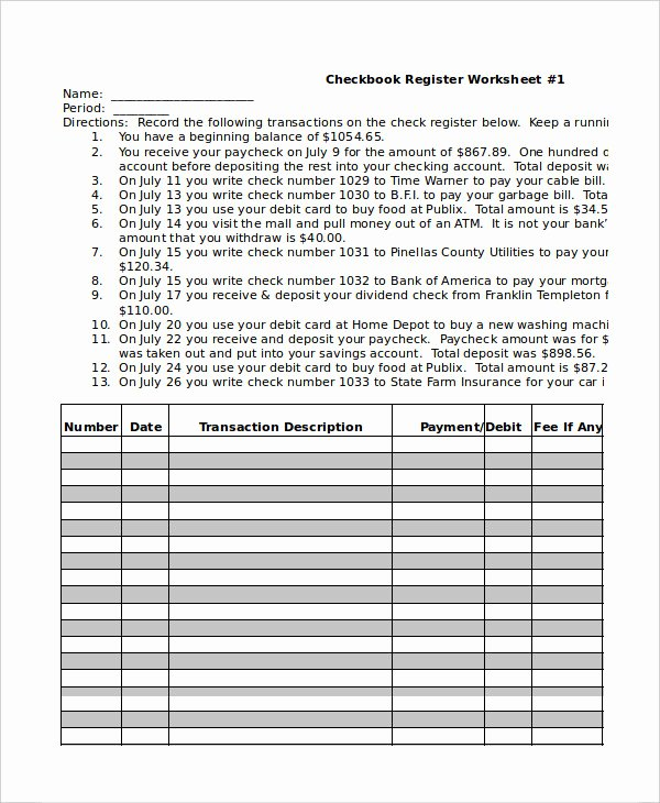 Checkbook Register Worksheet 1 Answers Ideas 34 Balancing Your Checking Account Worksheet Answers