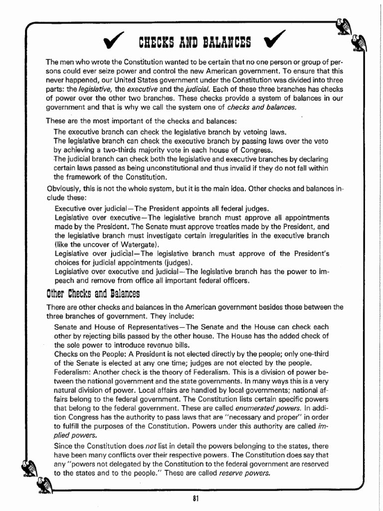 Checks and Balances Worksheet Answers Best Of Checks and Balances Worksheet