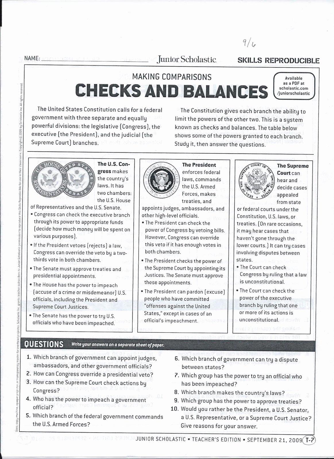 Checks and Balances Worksheet Answers Kids Gms 6th Grade social Stu S Checks and Balances