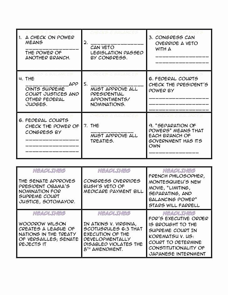 Checks and Balances Worksheet Answers Printable Checks and Balances Headlines Cards