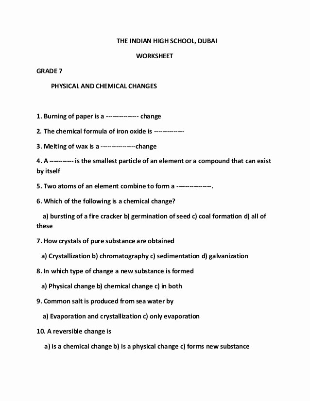 Chemical and Physical Change Worksheet top Physical and Chemical Changes Pdf