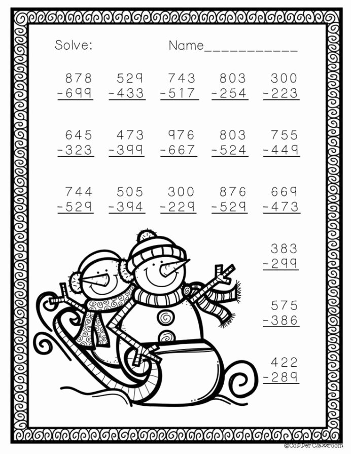 Christmas Math Worksheets 4th Grade Free Free Three Digit Subtraction with Regrouping Winter theme