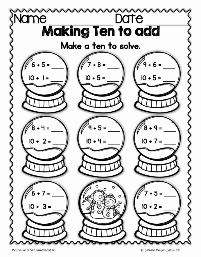 Christmas Math Worksheets 4th Grade Lovely Christmas Math Making Ten to Mega Holiday Practice Oa 4th