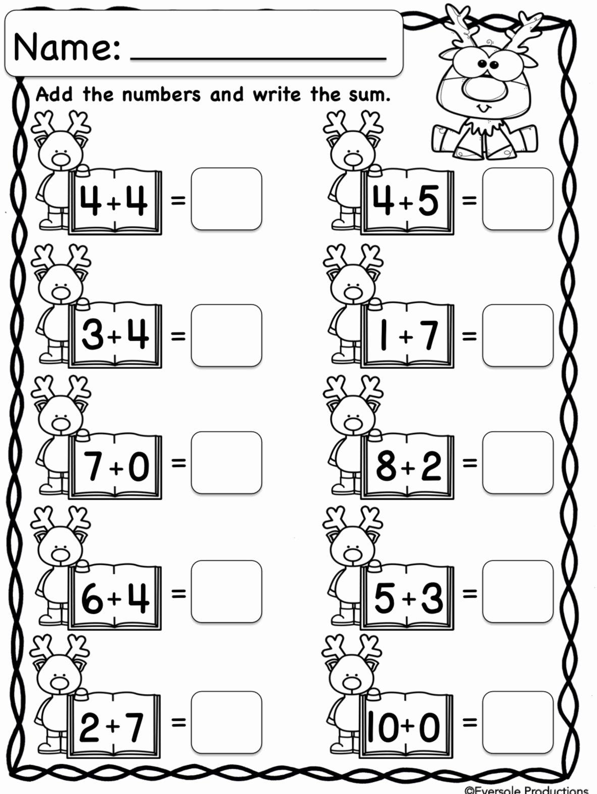 Christmas Math Worksheets for Kindergarten Ideas Christmas Math