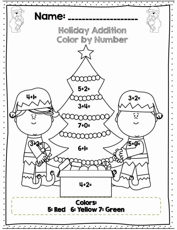 Christmas Math Worksheets for Kindergarten Lovely Color by Number Addition Christmas Worksheets for