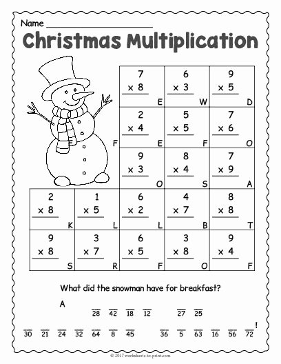 Christmas Math Worksheets Middle School top Free Printable Christmas Multiplication Worksheet Math