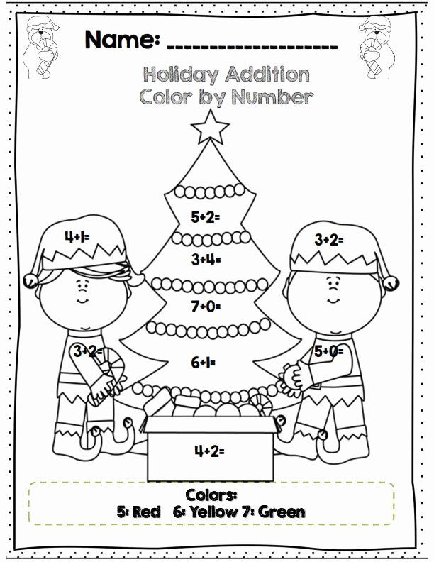 Christmas Worksheets for First Grade Inspirational Color by Number Addition Christmas Worksheets for
