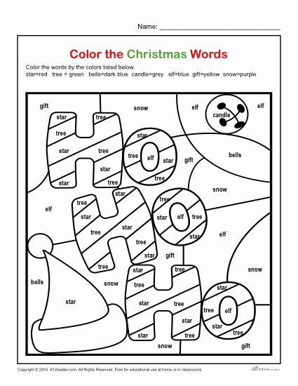 Christmas Worksheets for First Grade Kids Color the Christmas Words