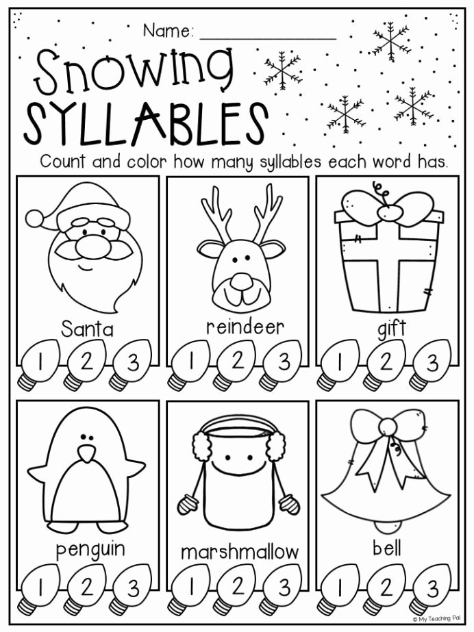Christmas Worksheets for First Grade Printable Christmas Syllables Worksheet for Kindergarten and First