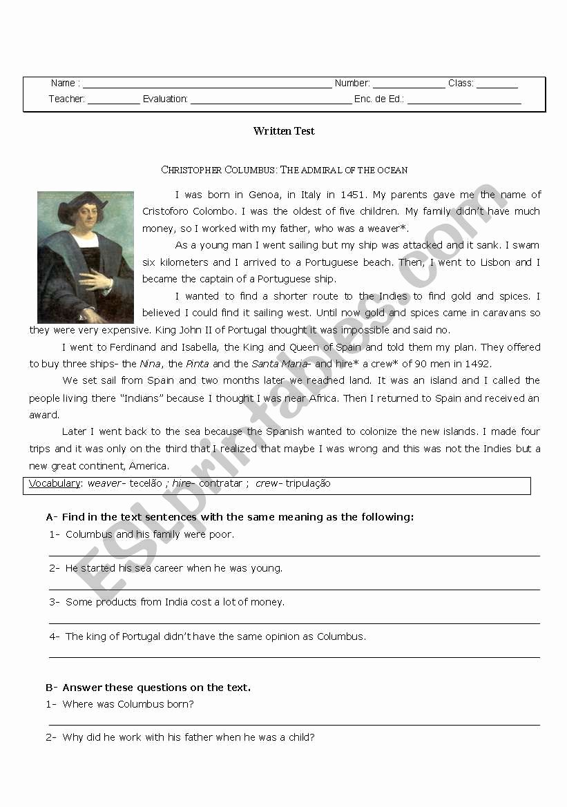 Christopher Columbus Reading Comprehension Worksheet Free Christopher Columbus Esl Worksheet by Cgato