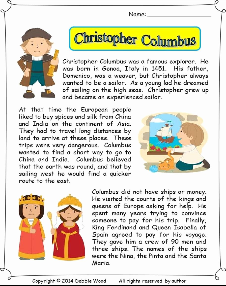 Christopher Columbus Reading Comprehension Worksheet Fresh Christopher Columbus