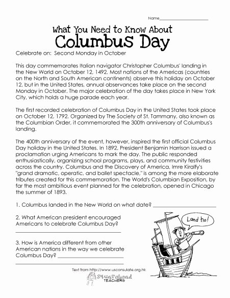 Christopher Columbus Reading Comprehension Worksheet Inspirational Columbus Day Free Worksheet