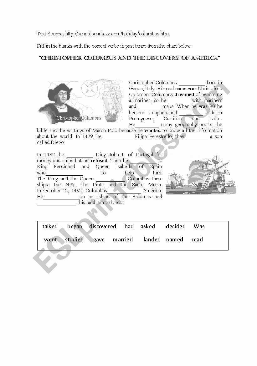 Christopher Columbus Reading Comprehension Worksheet Kids Christopher Columbus and the Discovery Of America Esl
