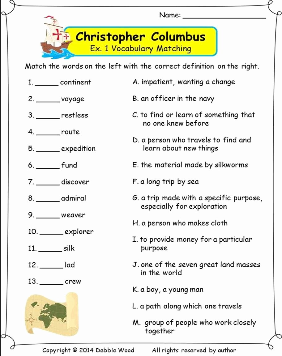 Christopher Columbus Reading Comprehension Worksheet Lovely Christopher Columbus