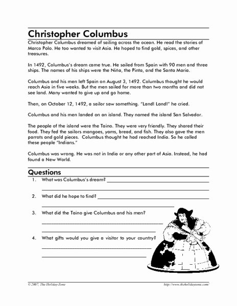 Christopher Columbus Reading Comprehension Worksheet Lovely Christopher Columbus Reading Prehension Worksheet for 2nd