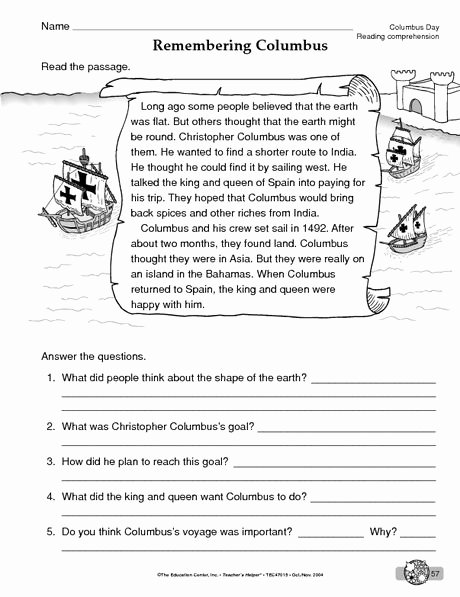 Christopher Columbus Reading Comprehension Worksheet Lovely Columbus Day Worksheet Reading Prehension the Mailbox