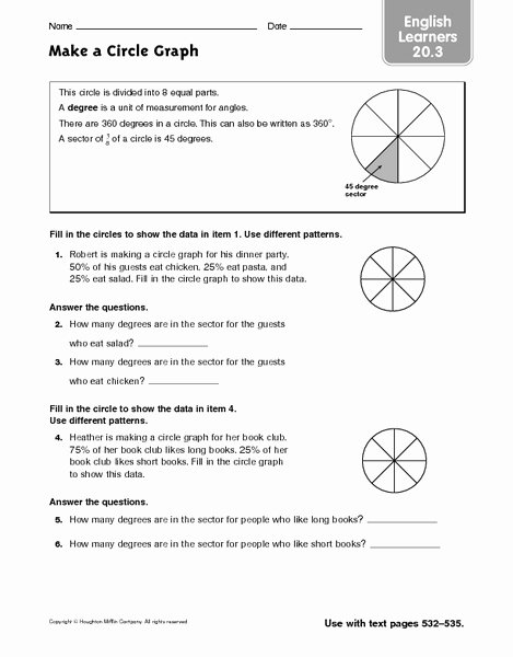 Circle Graphs Worksheets 7th Grade Ideas Make A Circle Graph Esl Worksheet for 6th 7th Grade