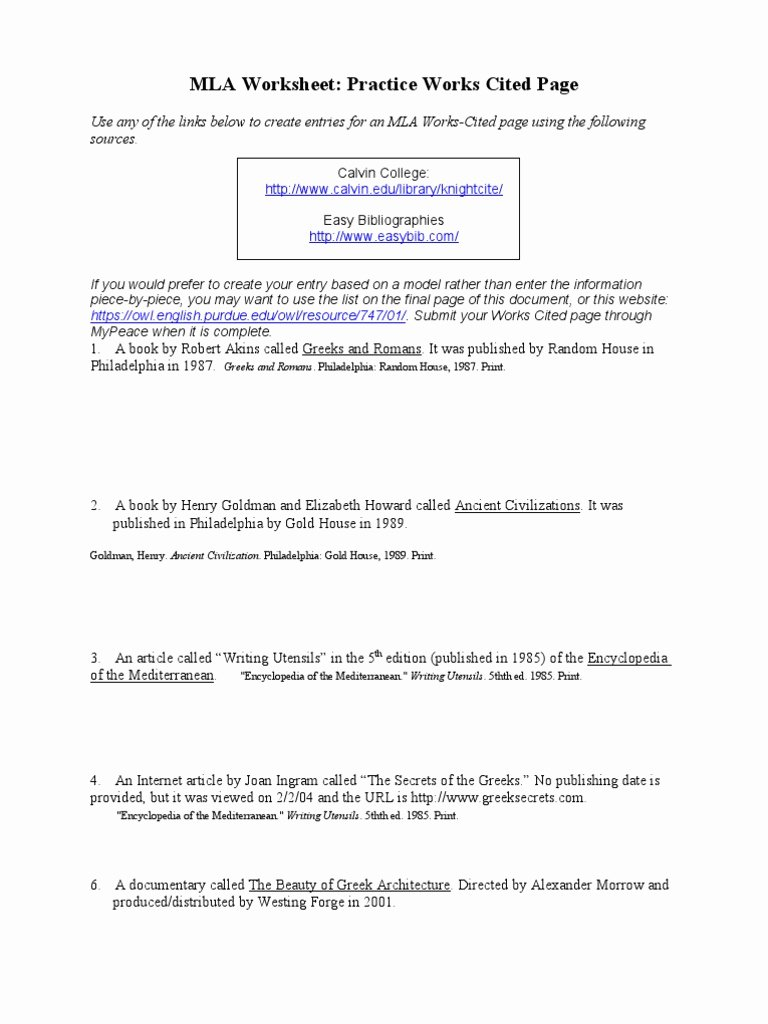 Citing sources Worksheet 5th Grade Best Of Mla Works Cited Practice Worksheet