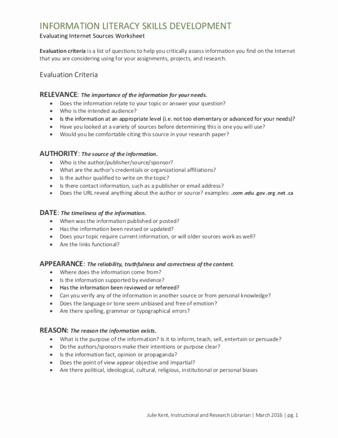 Citing sources Worksheet 5th Grade Lovely Evaluating Internet sources Radar Worksheet Research Skills
