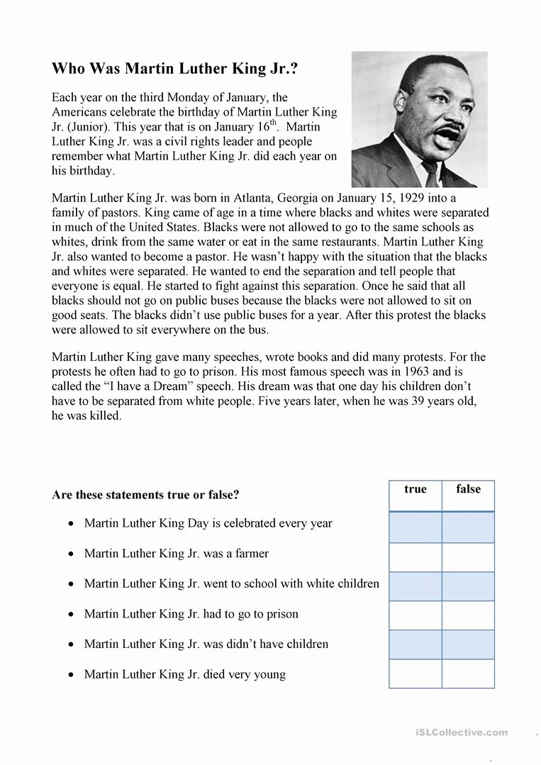 Civil Rights Worksheets Middle School Fresh Printable Coloring Martin Luther King Reading Prehension