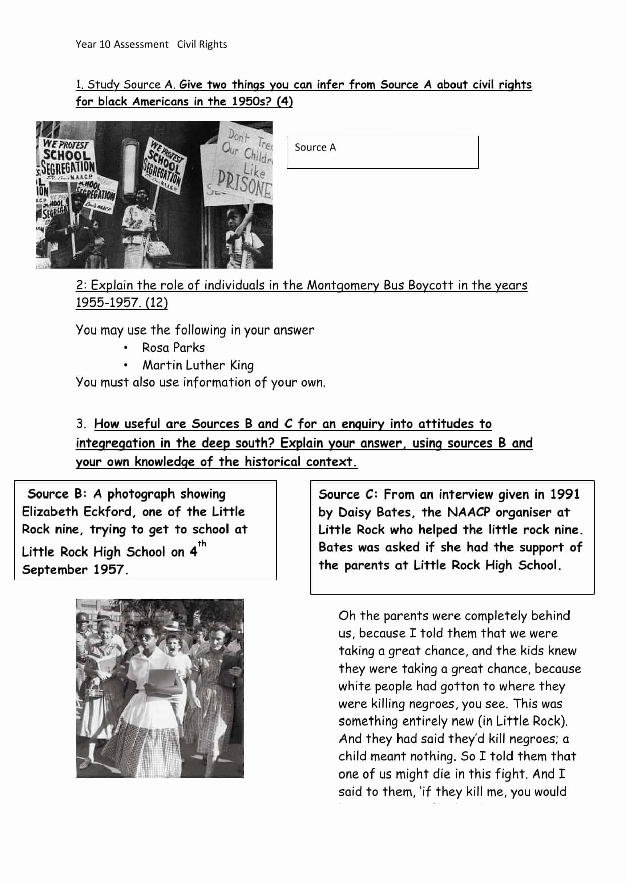 Civil Rights Worksheets Middle School Ideas Civil Rights Movement Worksheets