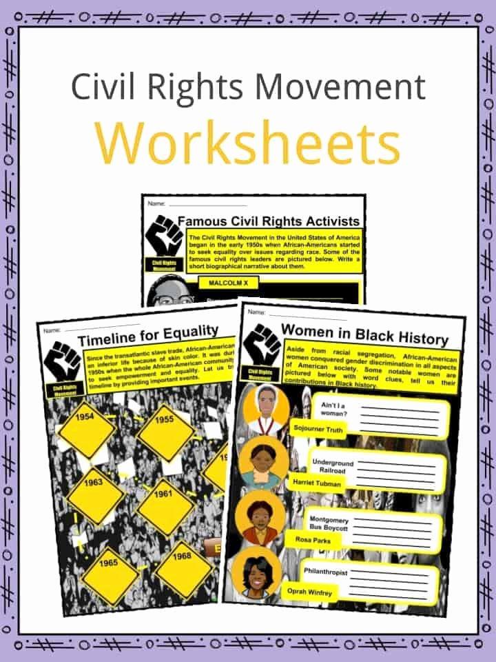 Civil Rights Worksheets Middle School Kids Civil Rights Movement Facts & Worksheets for Kids